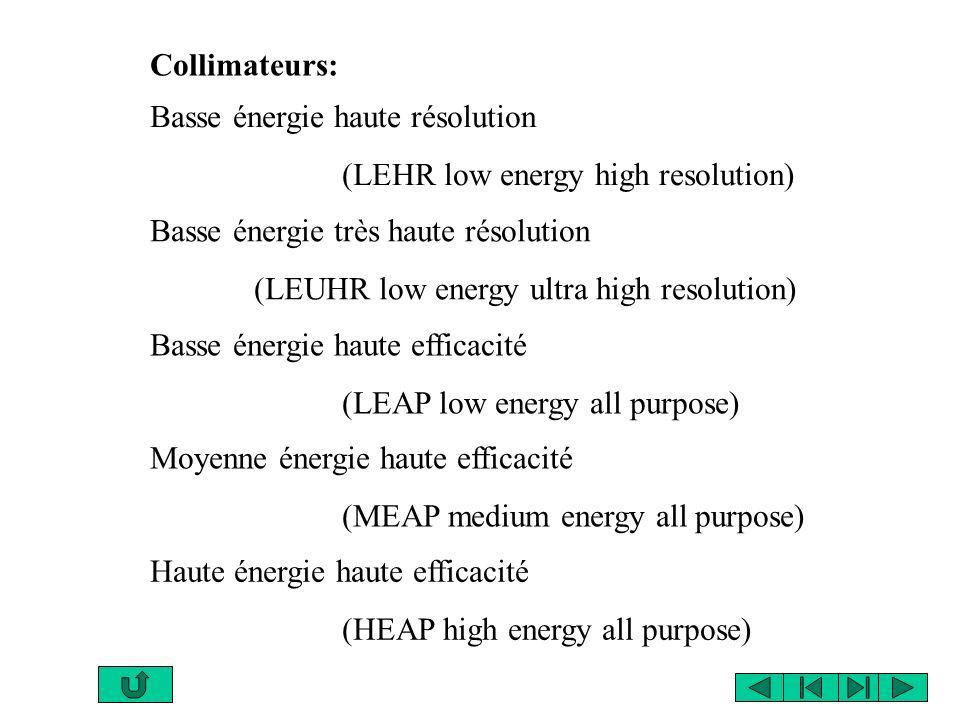 Collimateurs: Basse énergie haute résolution. (LEHR low energy high resolution) Basse énergie très haute résolution.