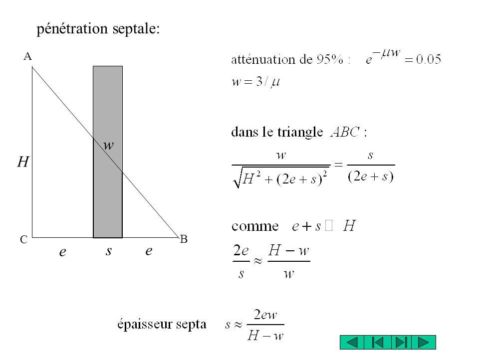 pénétration septale: A w H C B e s e