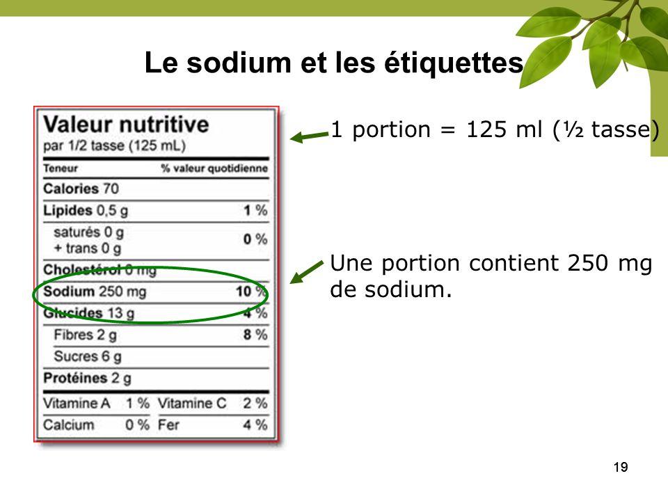 Le sodium et les étiquettes