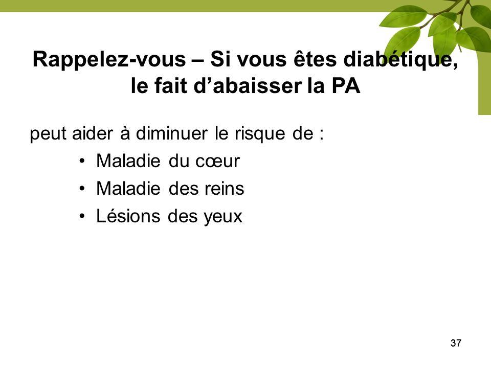 Rappelez-vous – Si vous êtes diabétique, le fait d'abaisser la PA