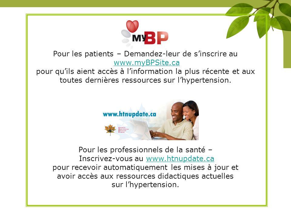 Pour les patients – Demandez-leur de s'inscrire au www.myBPSite.ca