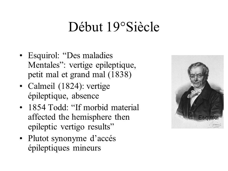 Début 19°Siècle Esquirol: Des maladies Mentales : vertige epileptique, petit mal et grand mal (1838)