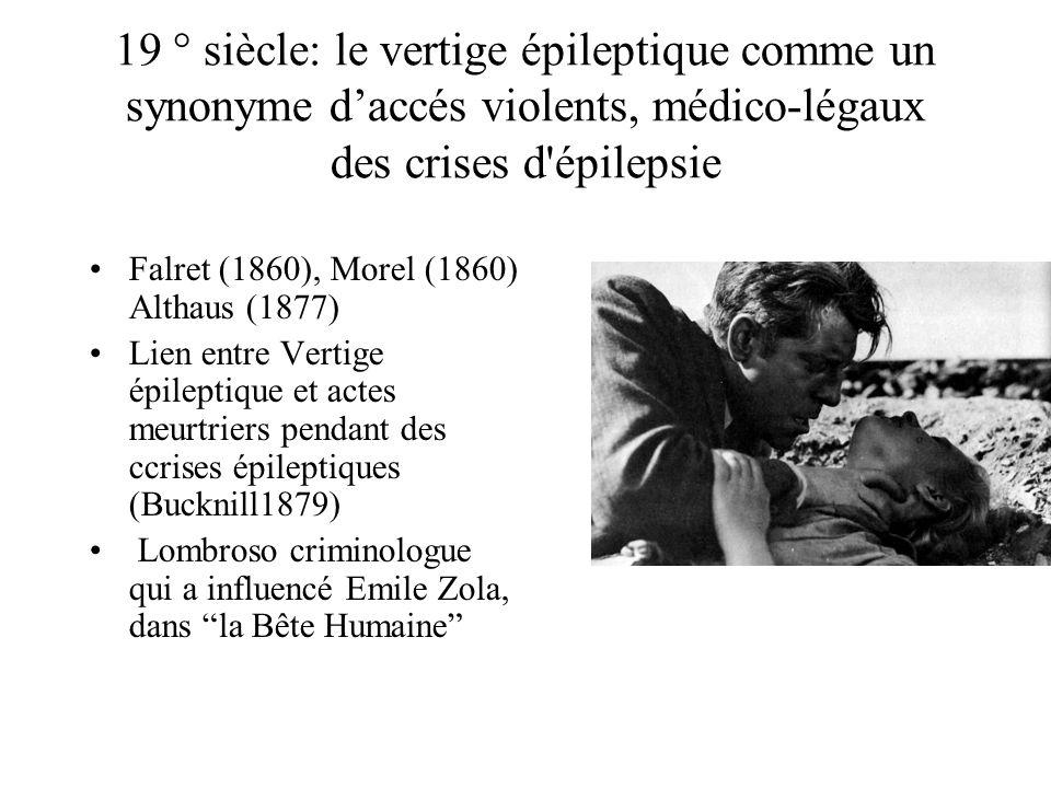 19 ° siècle: le vertige épileptique comme un synonyme d'accés violents, médico-légaux des crises d épilepsie