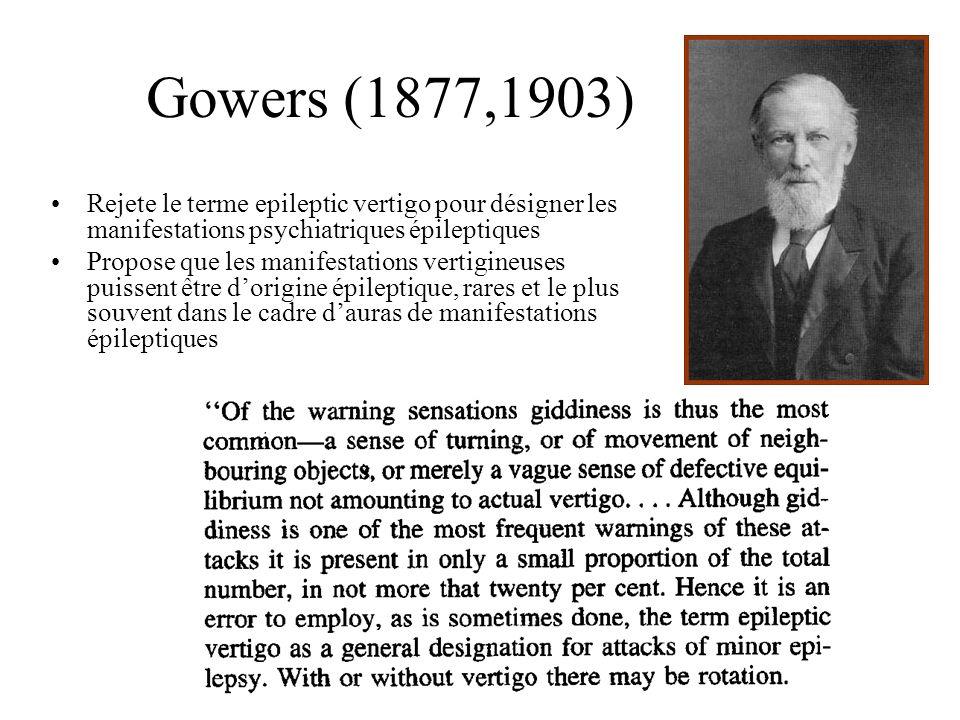 Gowers (1877,1903) Rejete le terme epileptic vertigo pour désigner les manifestations psychiatriques épileptiques.