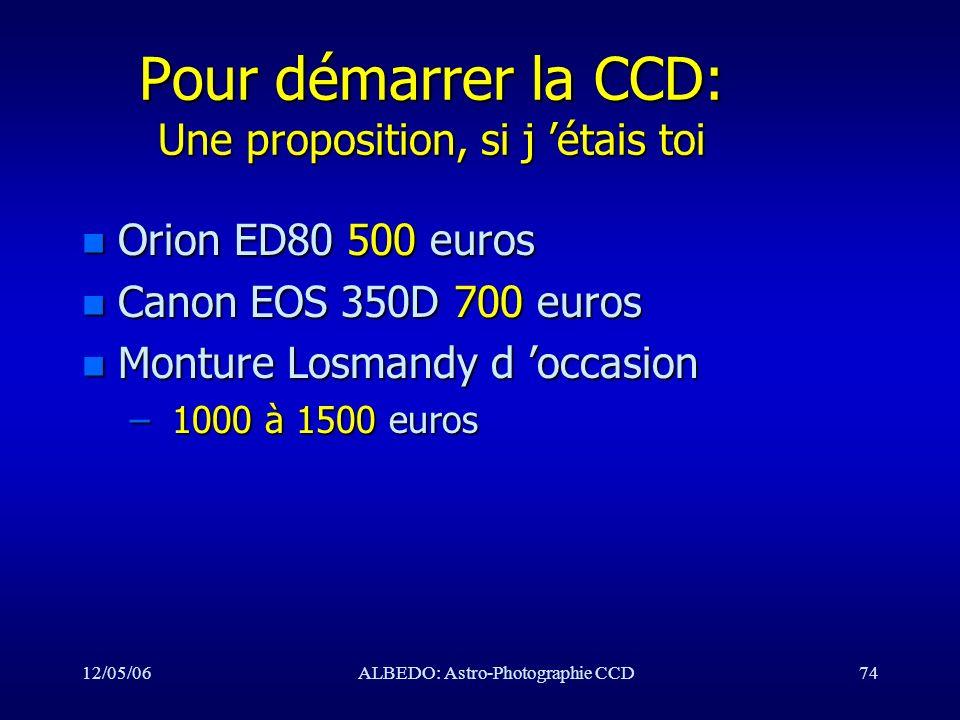 Pour démarrer la CCD: Une proposition, si j 'étais toi