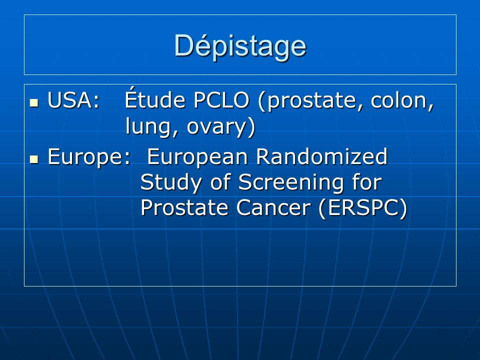 Dépistage USA: Étude PCLO (prostate, colon, lung, ovary)