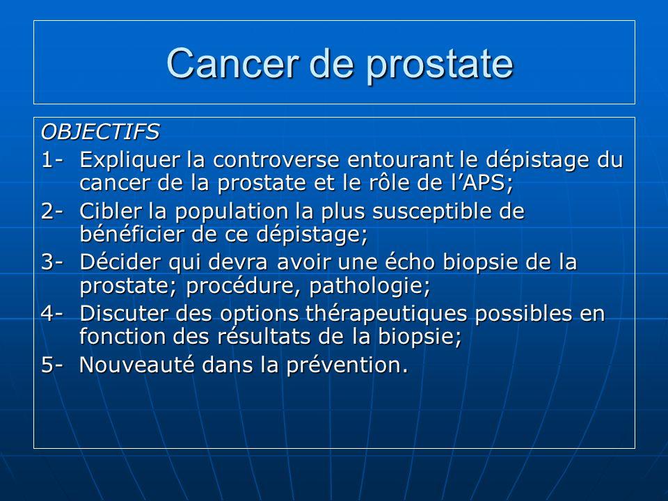 Cancer de prostate OBJECTIFS
