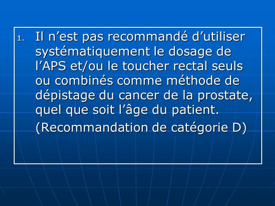 Il n'est pas recommandé d'utiliser systématiquement le dosage de l'APS et/ou le toucher rectal seuls ou combinés comme méthode de dépistage du cancer de la prostate, quel que soit l'âge du patient.