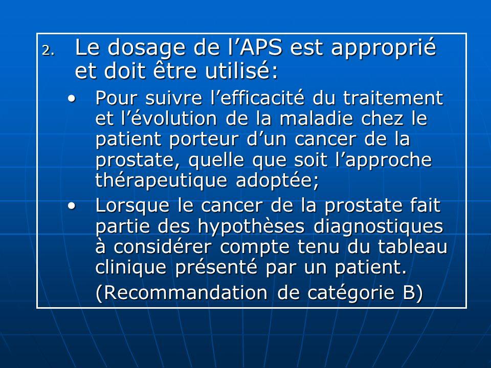 Le dosage de l'APS est approprié et doit être utilisé: