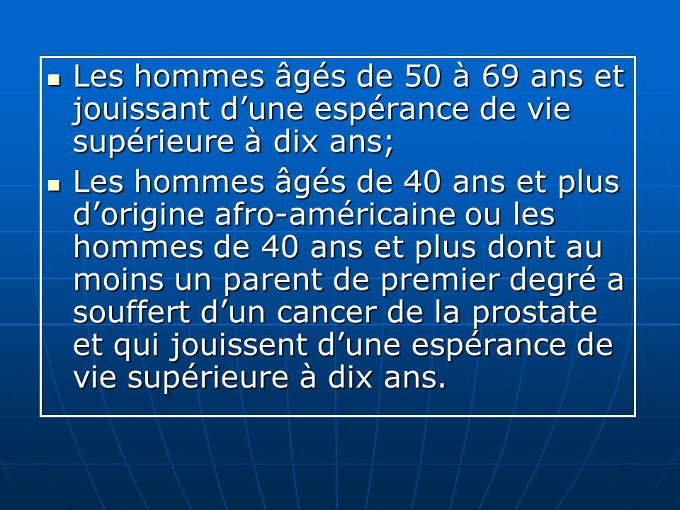 Les hommes âgés de 50 à 69 ans et jouissant d'une espérance de vie supérieure à dix ans;
