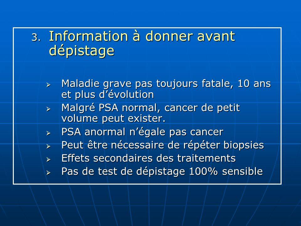 Information à donner avant dépistage