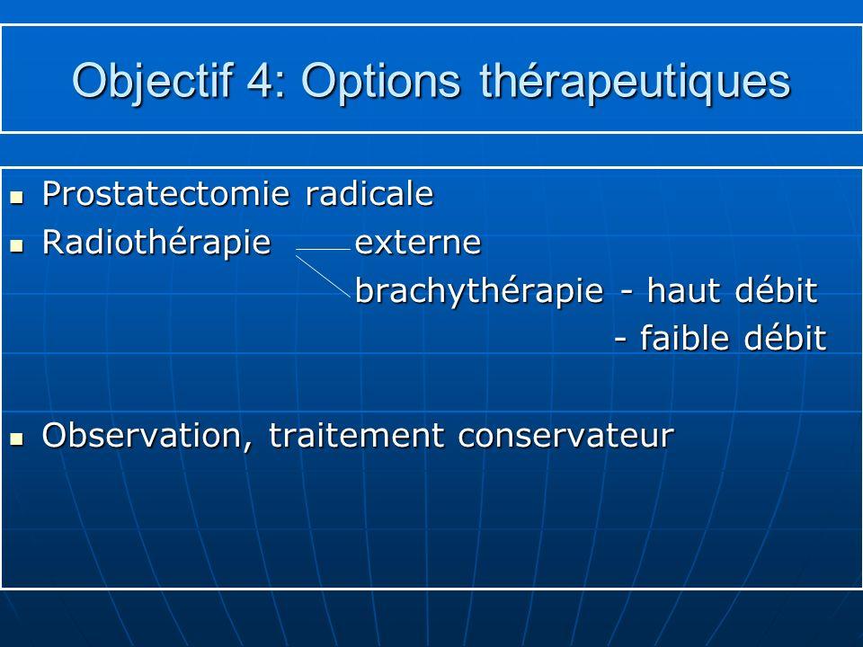 Objectif 4: Options thérapeutiques