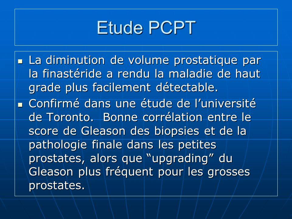 Etude PCPT La diminution de volume prostatique par la finastéride a rendu la maladie de haut grade plus facilement détectable.