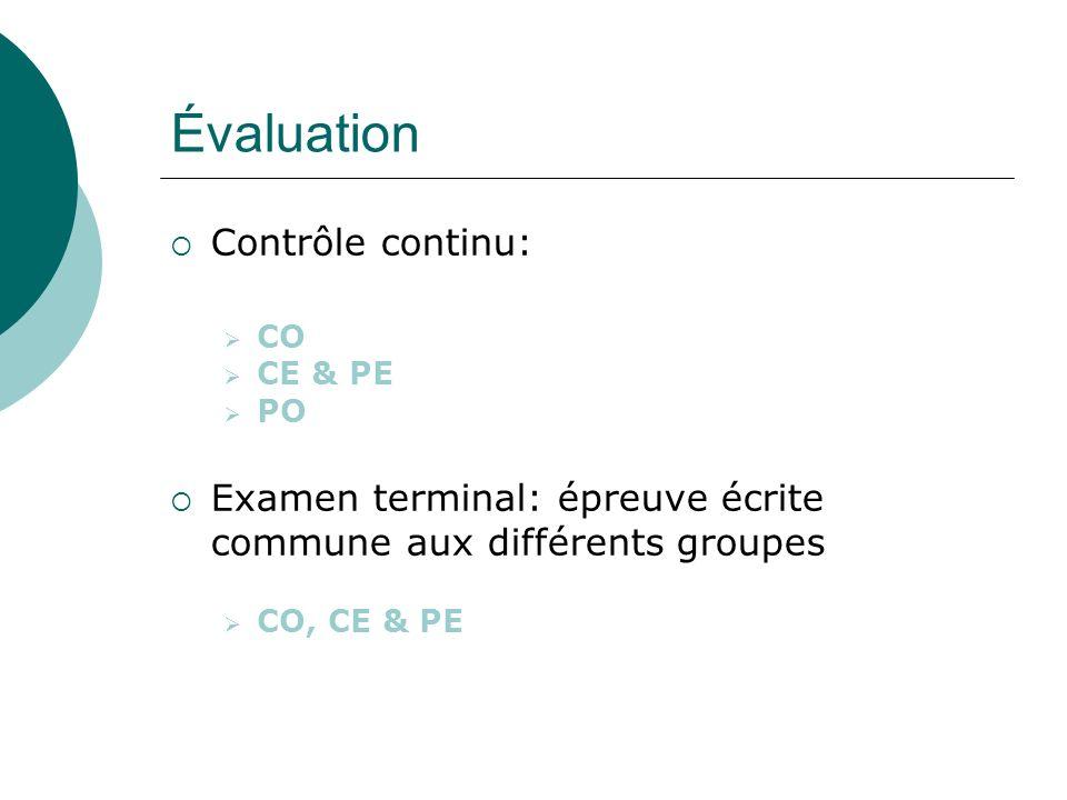 Évaluation Contrôle continu: