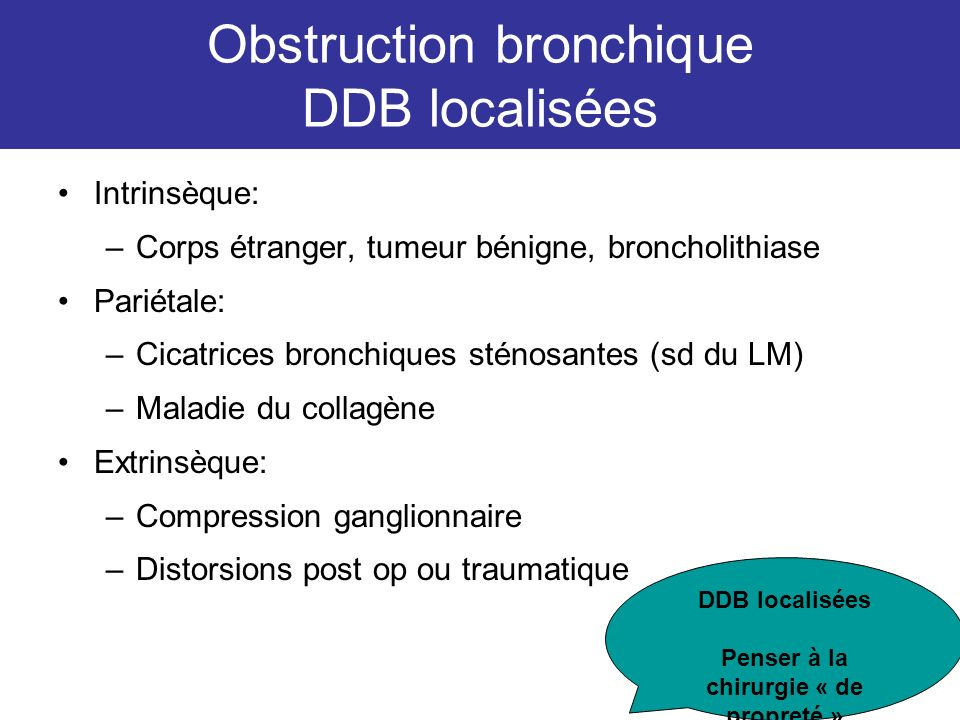 Obstruction bronchique DDB localisées