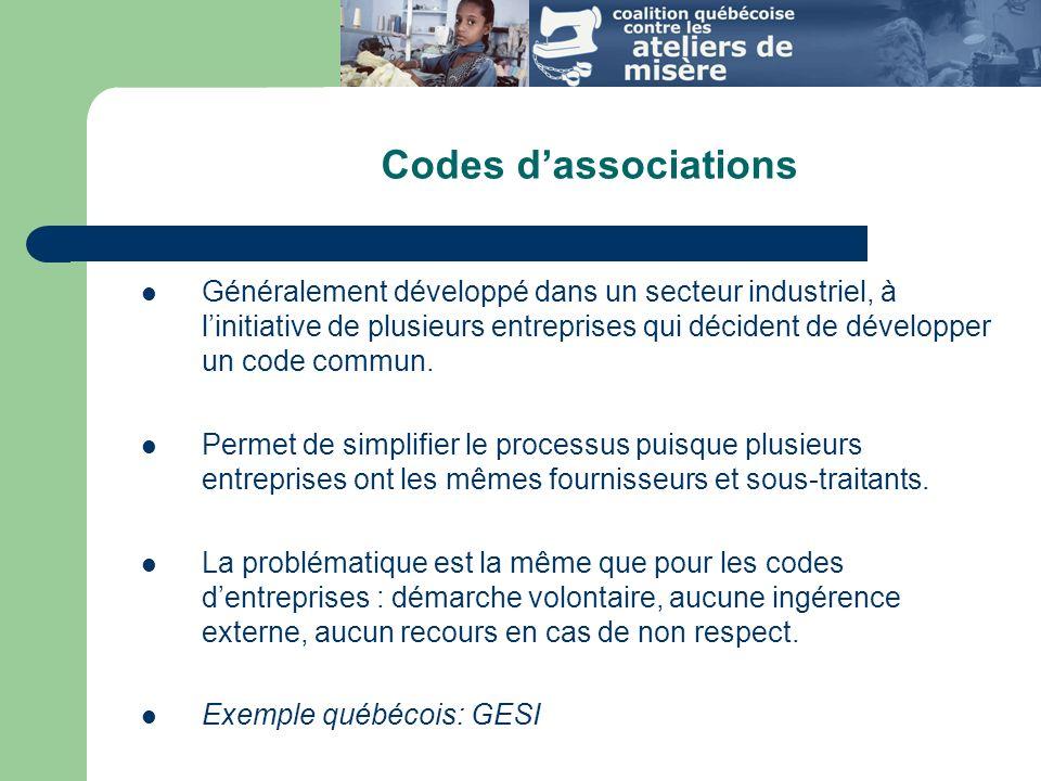 Codes d'associations