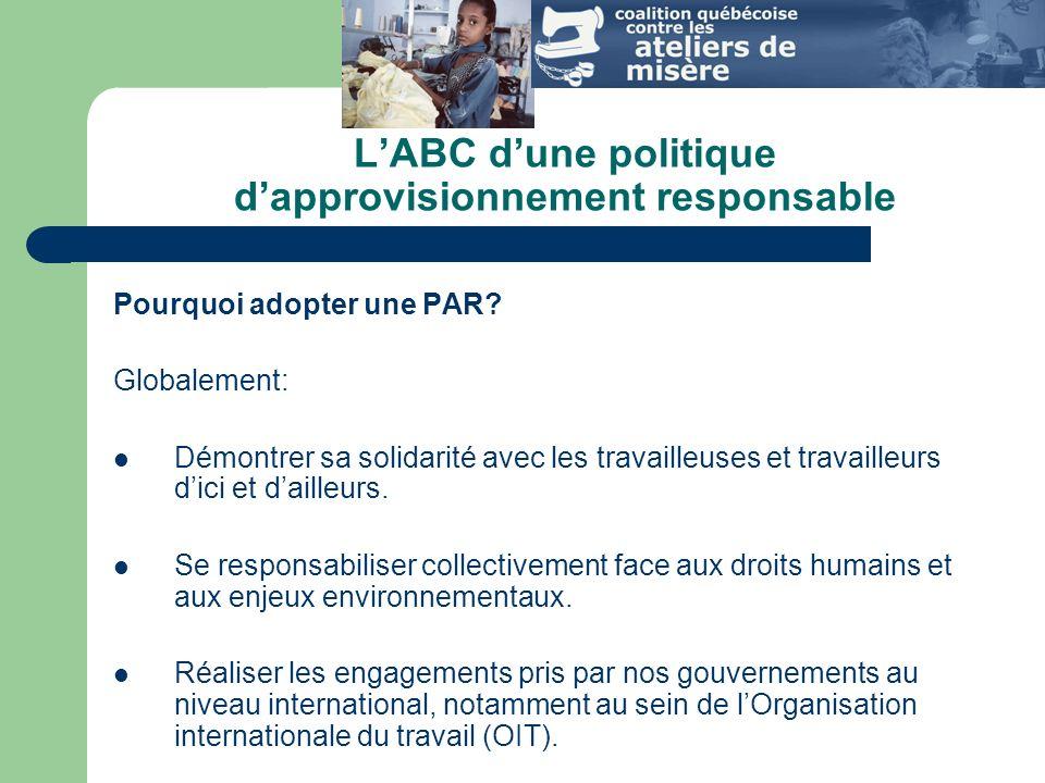 L'ABC d'une politique d'approvisionnement responsable