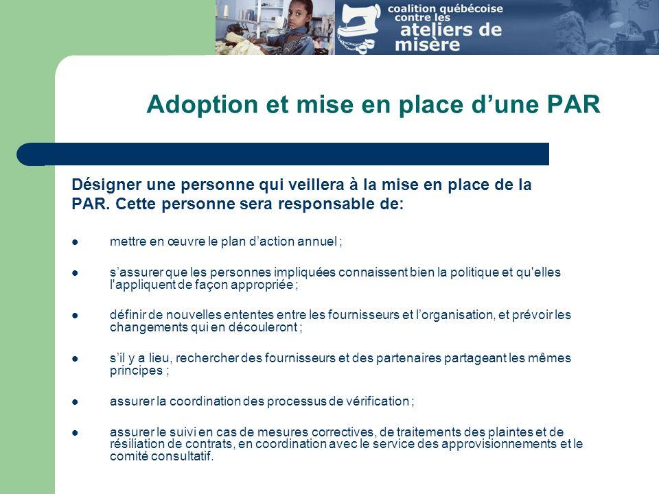 Adoption et mise en place d'une PAR