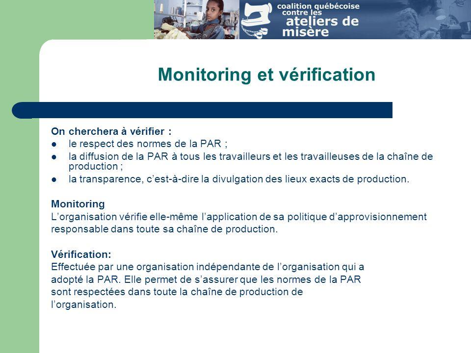 Monitoring et vérification