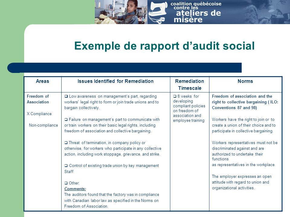 Exemple de rapport d'audit social