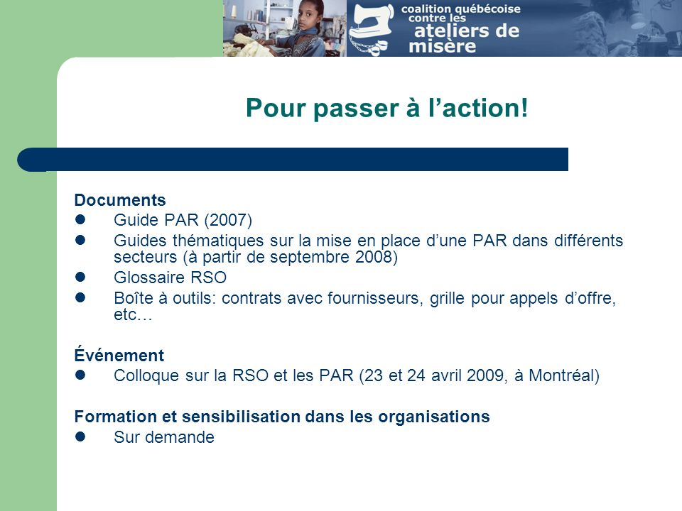 Pour passer à l'action! Documents Guide PAR (2007)