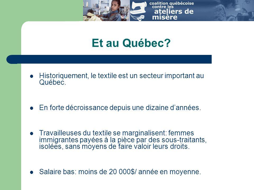 Et au Québec Historiquement, le textile est un secteur important au Québec. En forte décroissance depuis une dizaine d'années.
