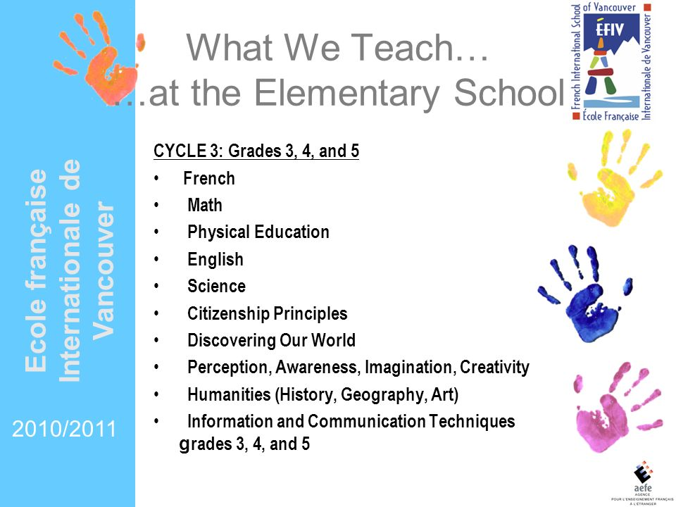 What We Teach… …at the Elementary School
