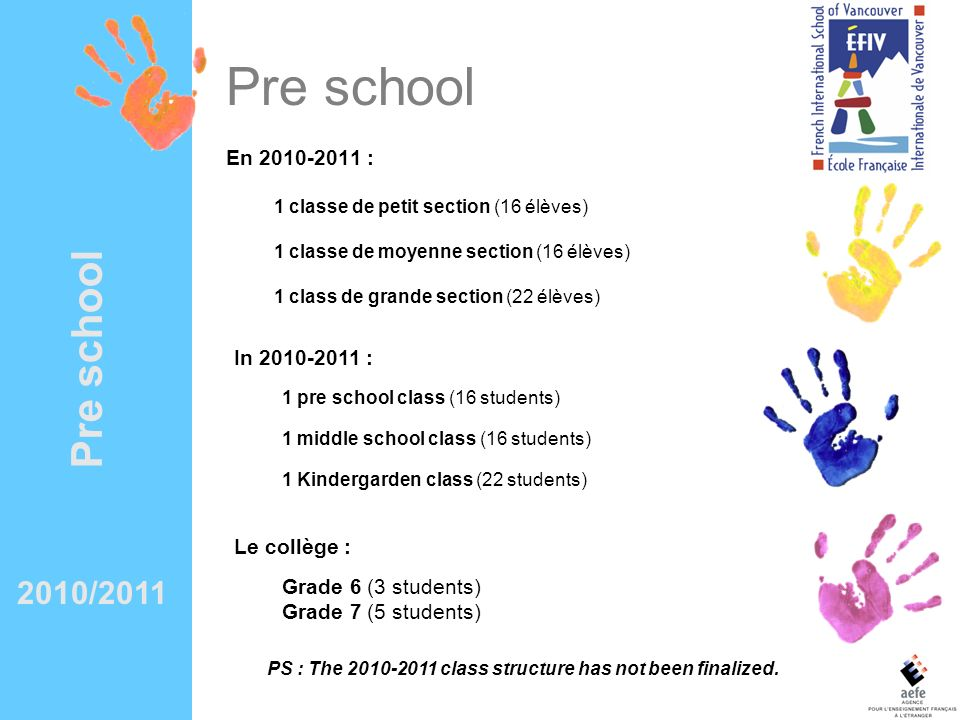 PS : The 2010-2011 class structure has not been finalized.