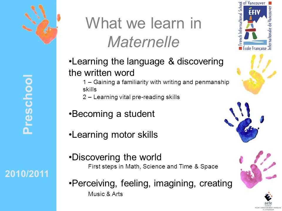 What we learn in Maternelle
