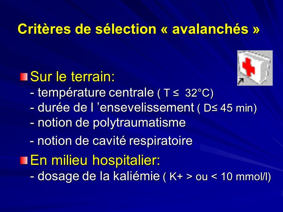 Critères de sélection « avalanchés »