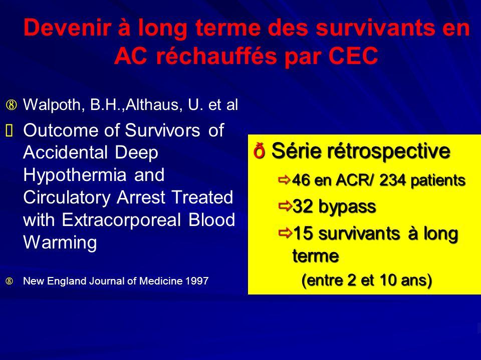 Devenir à long terme des survivants en AC réchauffés par CEC
