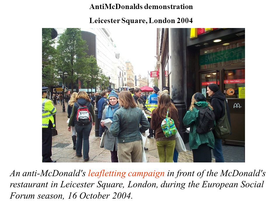 AntiMcDonalds demonstration Leicester Square, London 2004