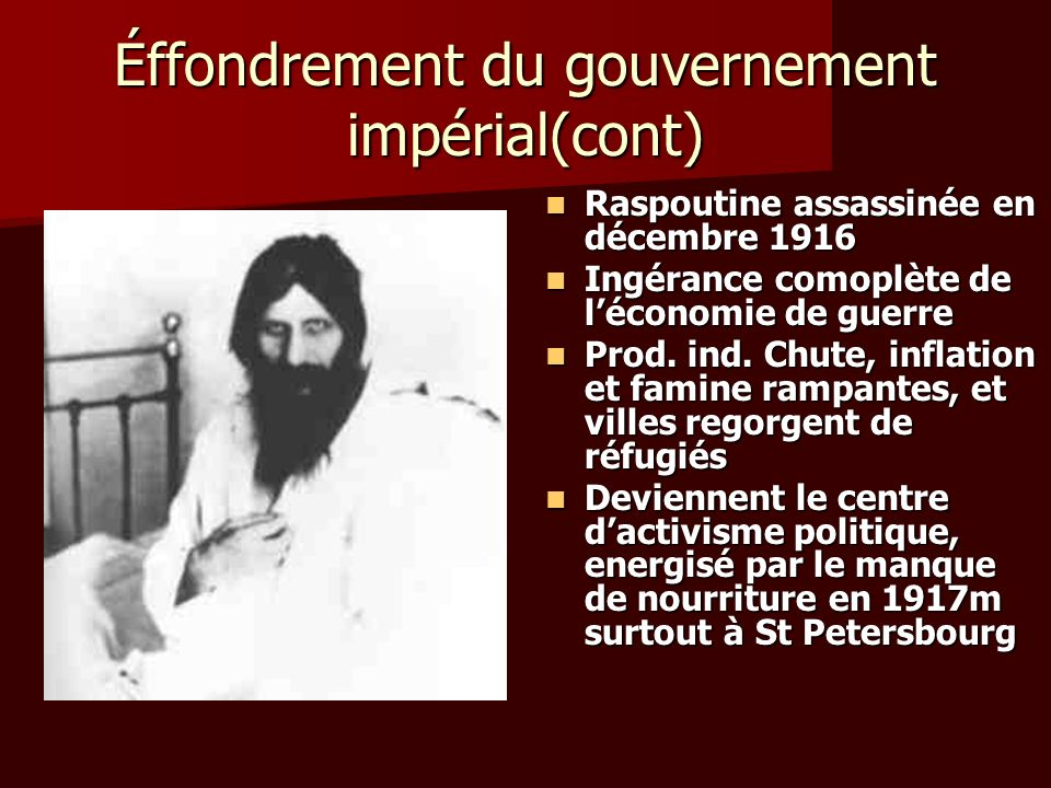 Éffondrement du gouvernement impérial(cont)