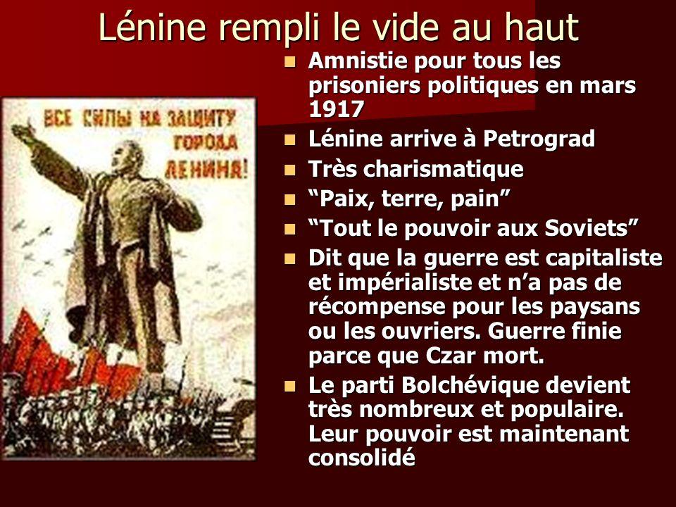Lénine rempli le vide au haut