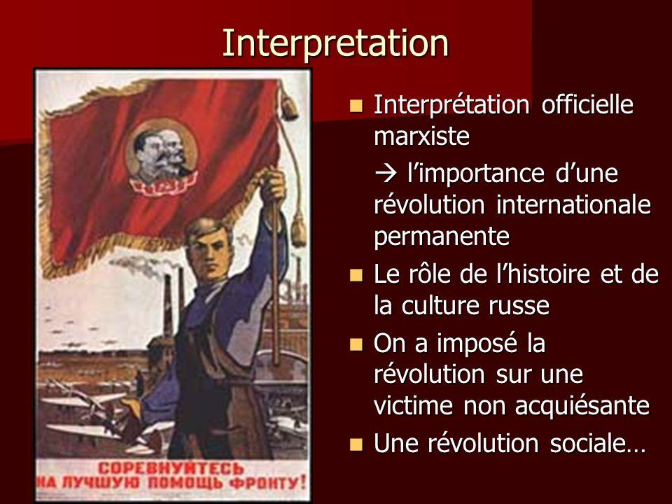 Interpretation Interprétation officielle marxiste