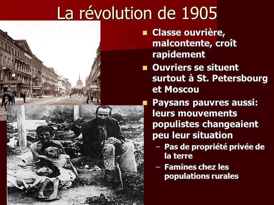La révolution de 1905 Classe ouvrière, malcontente, croît rapidement
