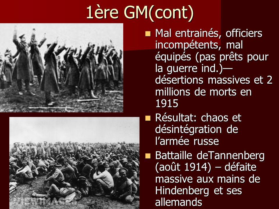 1ère GM(cont) Mal entrainés, officiers incompétents, mal équipés (pas prêts pour la guerre ind.)—désertions massives et 2 millions de morts en 1915.