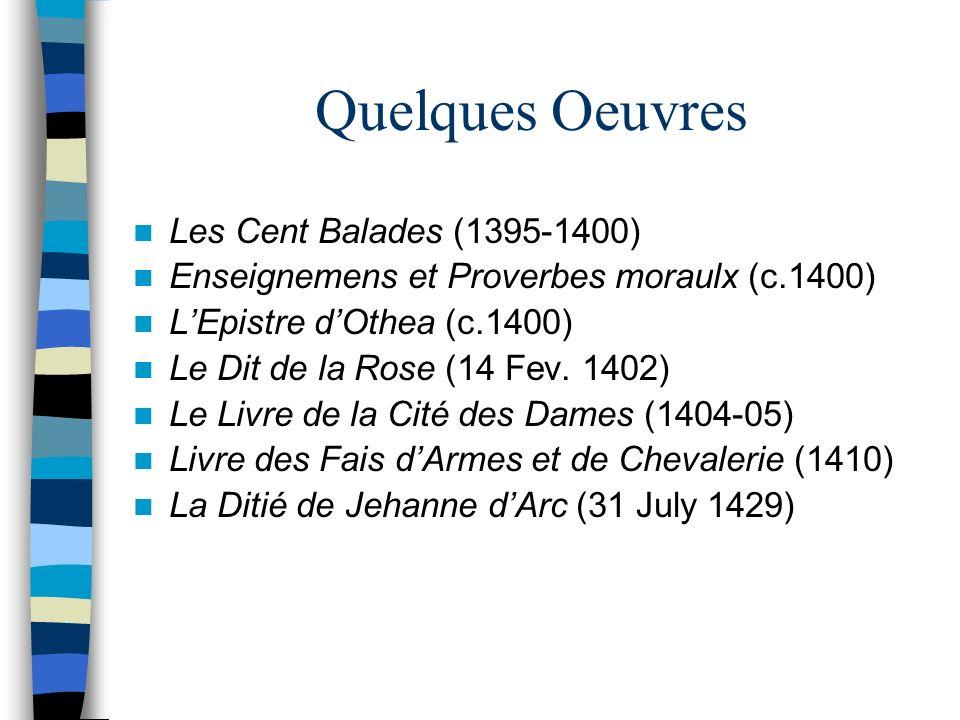 Quelques Oeuvres Les Cent Balades (1395-1400)