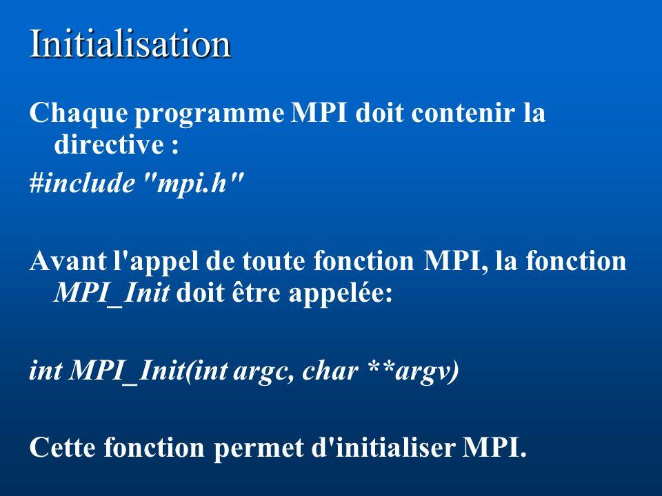 Initialisation Chaque programme MPI doit contenir la directive :