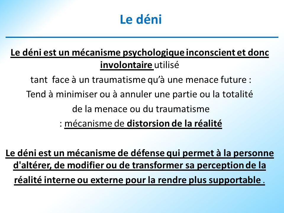 Le déni Le déni est un mécanisme psychologique inconscient et donc involontaire utilisé. tant face à un traumatisme qu'à une menace future :