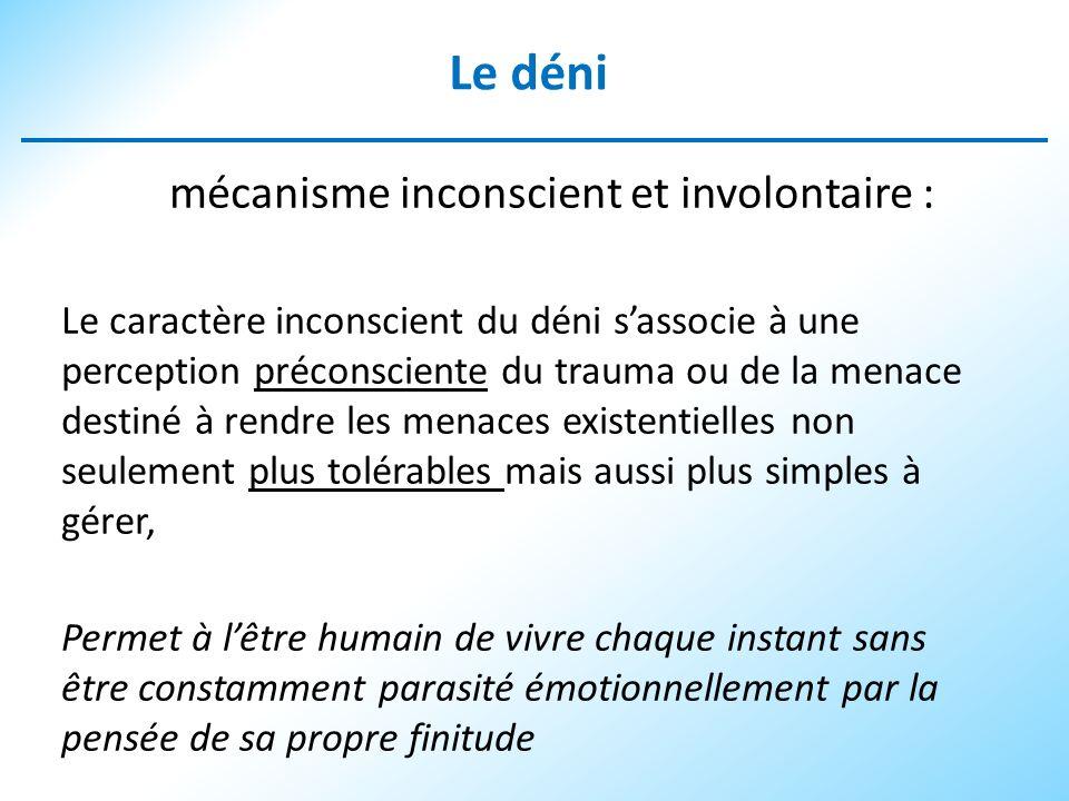 Le déni mécanisme inconscient et involontaire :