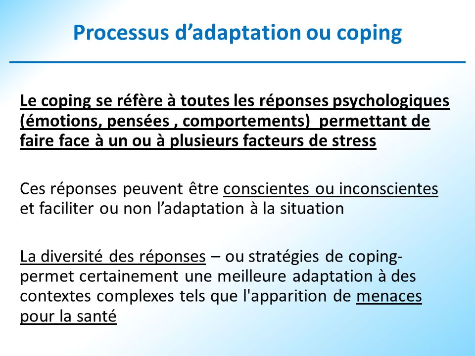 Processus d'adaptation ou coping