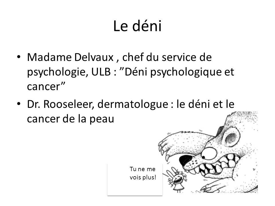 Le déni Madame Delvaux , chef du service de psychologie, ULB : Déni psychologique et cancer