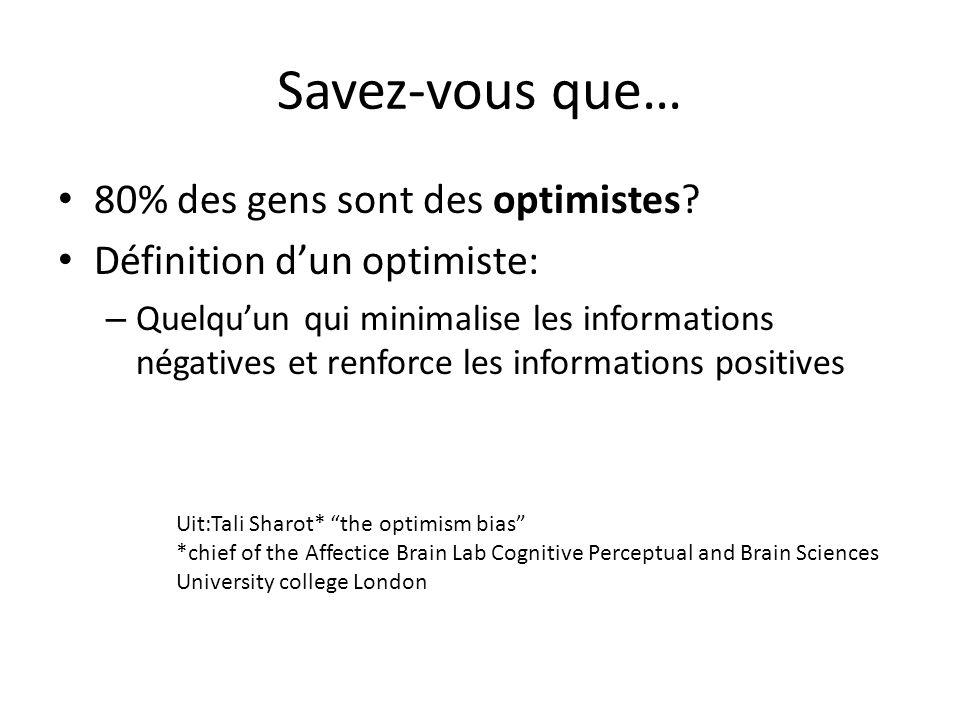 Savez-vous que… 80% des gens sont des optimistes
