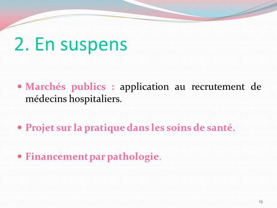 2. En suspens Marchés publics : application au recrutement de médecins hospitaliers. Projet sur la pratique dans les soins de santé.