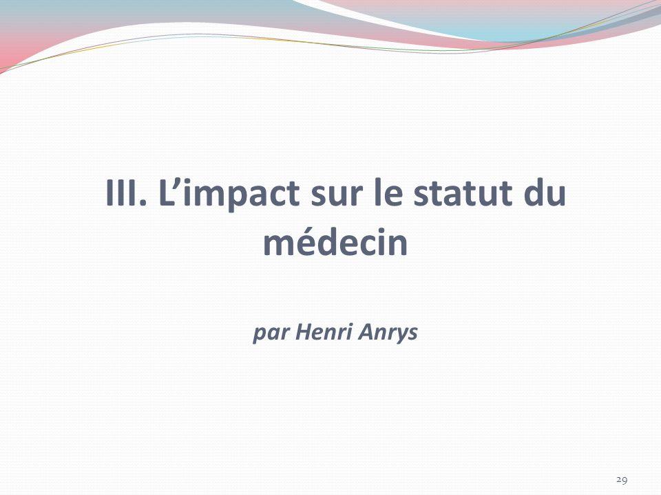 III. L'impact sur le statut du médecin par Henri Anrys