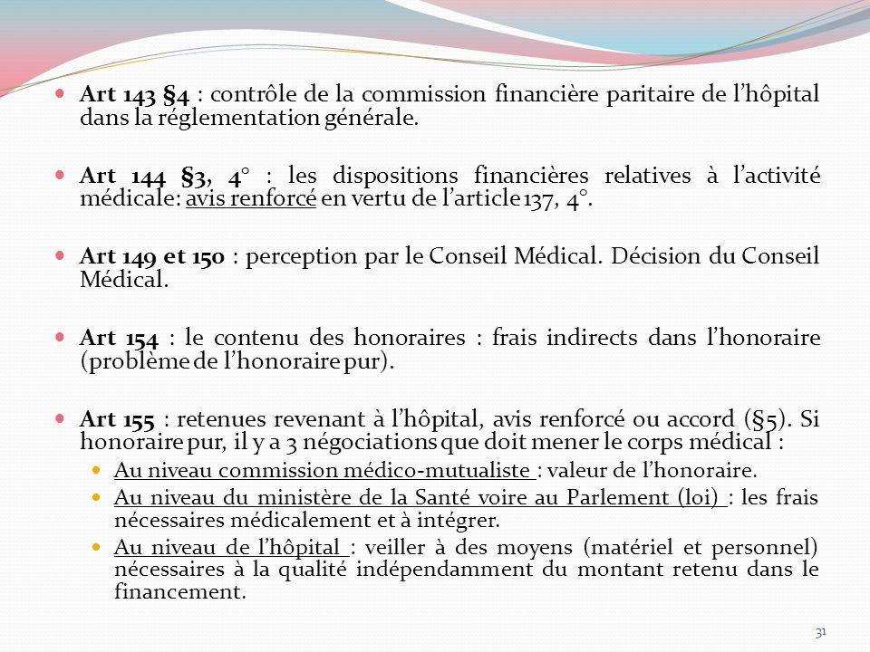 Art 143 §4 : contrôle de la commission financière paritaire de l'hôpital dans la réglementation générale.