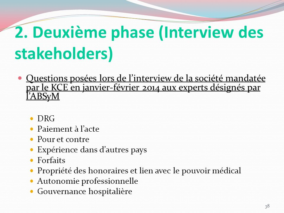 2. Deuxième phase (Interview des stakeholders)