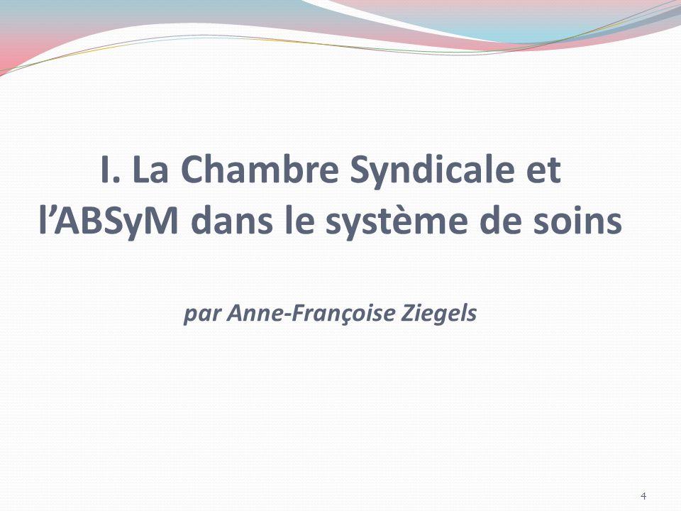 I. La Chambre Syndicale et l'ABSyM dans le système de soins par Anne-Françoise Ziegels