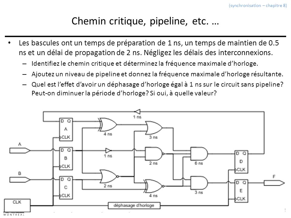 Chemin critique, pipeline, etc. …